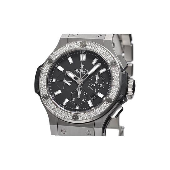 Hublot Big Bang Steel Black Dial Chronograph Diamond Bezel Men's Watch 301SX1170SX1104 | Joma Shop