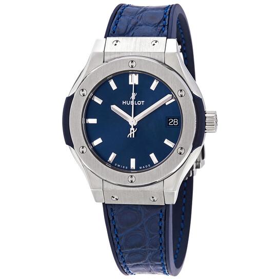 Hublot Classic Fusion Blue Dial Blue Leather Ladies Watch 581.NX.7170.LR | Joma Shop