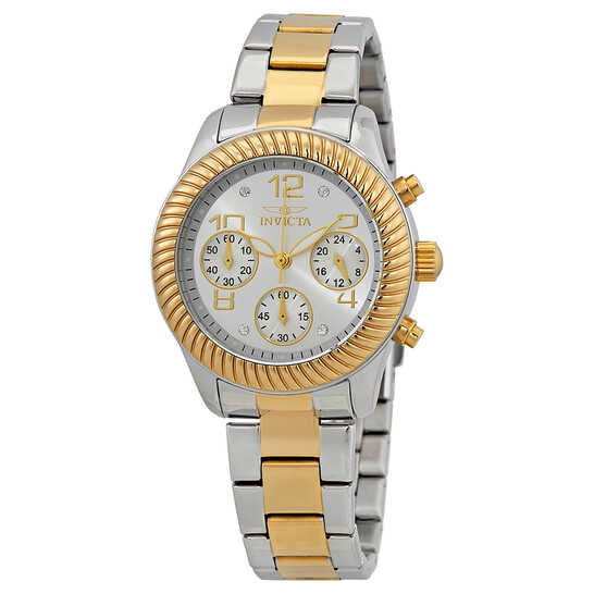 Invicta Angel Chronograph Silver Dial Two-tone Ladies Watch 20268   Joma Shop