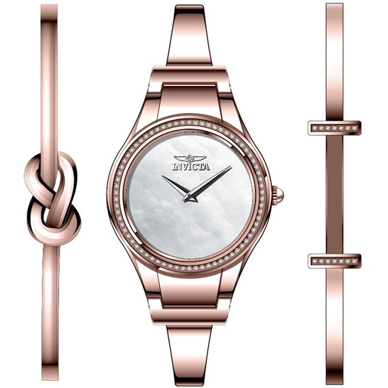 Invicta Angel Crystal White Mother of Pearl Dial Ladies Watch 28506 | Joma Shop