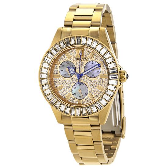 Invicta Angel Quartz Crystal Gold Dial Ladies Watch 28449 | Joma Shop