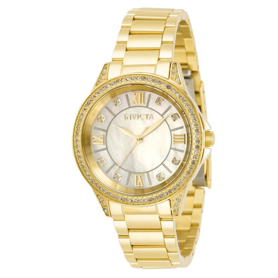 Invicta Angel Quartz Crystal White Dial Yellow Gold-tone Ladies Watch 30929 | Joma Shop