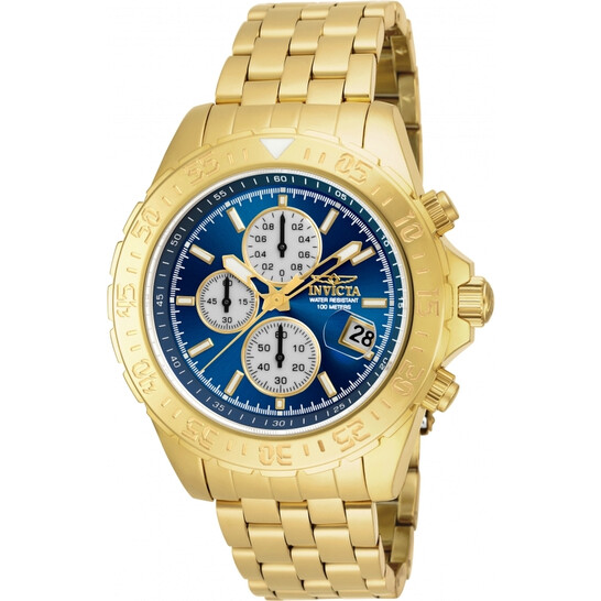 Invicta Aviator Chronograph Blue Dial Gold-plated Men's Watch 18855 | Joma Shop