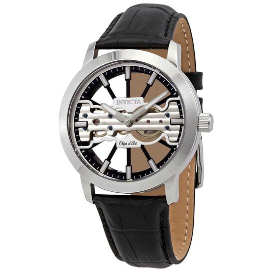 Invicta Objet D Art Transparent Dial Black Leather Men's Watch 25265 | Joma Shop