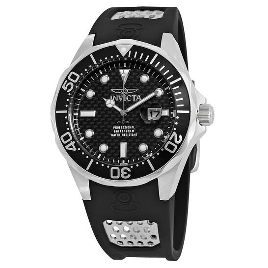 Invicta Pro Diver Black Carbon Dial Black Polyurethane Men's Watch 12558   Joma Shop