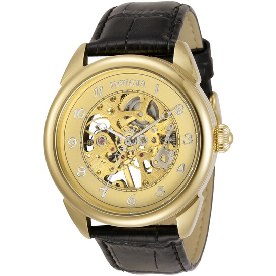 Invicta Specialty Mechanical Gold Dial Black Leather Men's Watch 31306 | Joma Shop