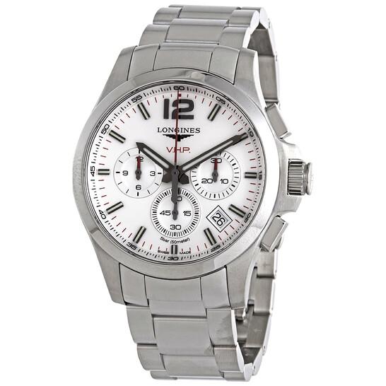 Longines Conquest V.H.P. Perpetual Chronograph Quartz Silver Dial Men's Watch L37174766   Joma Shop