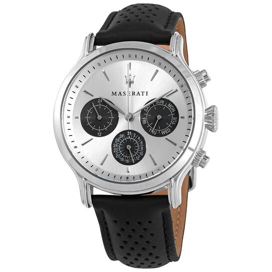 Maserati Epoca Quartz Silver Dial Black Leather Men's Watch R8851118009 | Joma Shop