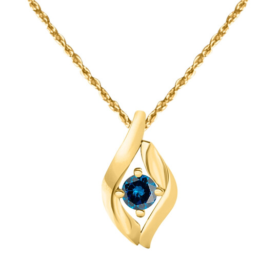 """Maulijewels 1/4 Carat Natural Blue Diamond Pendant In 10K Yellow Gold With 18"""" 10k Yellow Gold Plated Sterling Silver Box Chain 