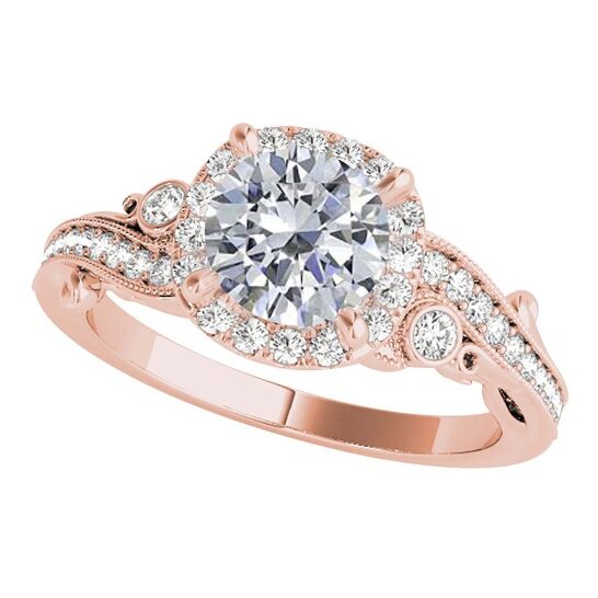 Maulijewels 1.00 Ct Natural Diamond Halo Engagement Ring In 14K Solid Rose Gold | Joma Shop