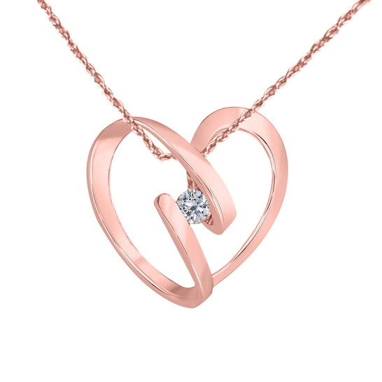 """Maulijewels 10K Rose Gold 0.25 Ct Diamond Swirl Heart Shape Pendant With 18"""" 10k Rose Gold Plated Sterling Silver Box Chain   Joma Shop"""