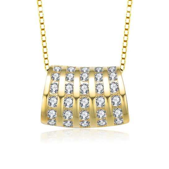 Megan Walford Gold Over Sterling Silver Clear Cubic Zirconia Five Row Pendant Necklace   Joma Shop