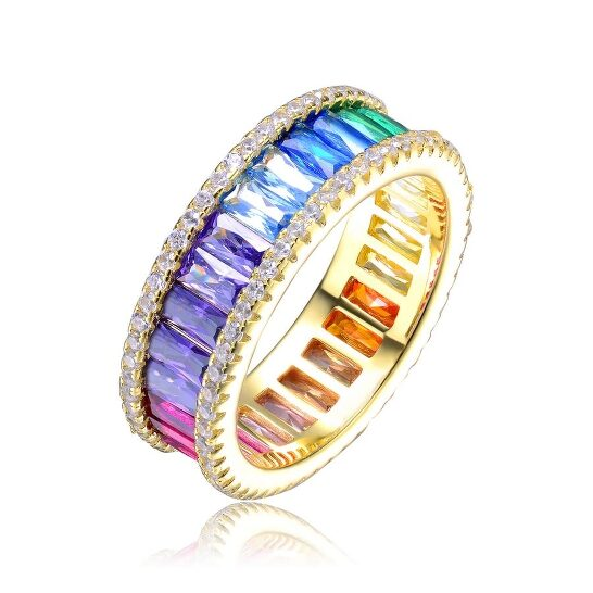 Megan Walford Gold Over Sterling Silver Cubic Zirconia Band Ring   Joma Shop