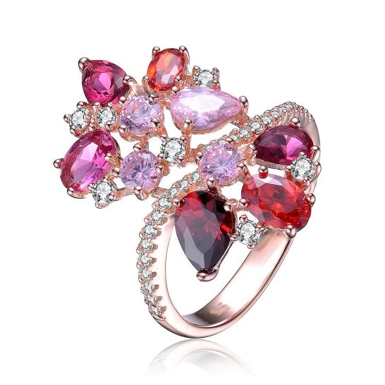 Megan Walford Rose Over Sterling Silver Muti Color Cubic Zirconia Ring   Joma Shop