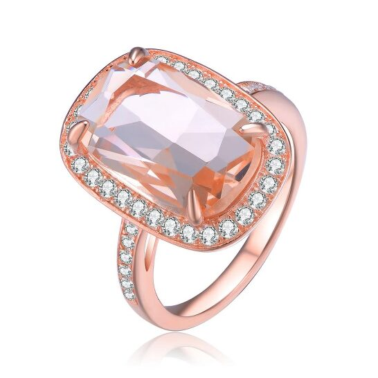 Megan Walford Rose Over Sterling Silver Radiant and Round Cubic Zirconia Cocktail Ring   Joma Shop