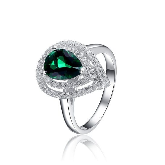 Megan Walford Sterling Silver Clear and Green Cubic Zirconia Ring | Joma Shop