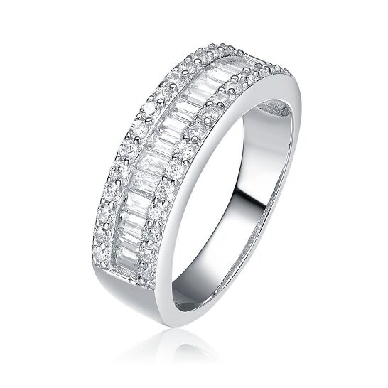 Megan Walford Sterling Silver Clear Baguette with Round Cubic Zirconia Ring   Joma Shop