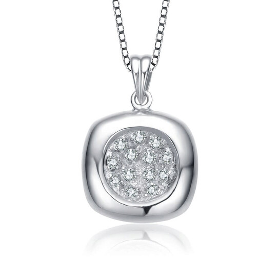 Megan Walford Sterling Silver Cubic Zirconia Rounded Square Necklace   Joma Shop