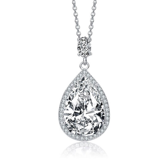 Megan Walford Sterling Silver Pear and Round Cubic Zirconia Drop Necklace | Joma Shop