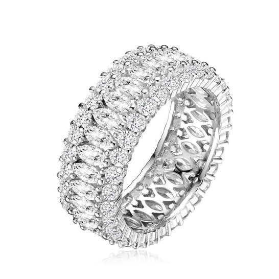 Megan Walford Sterling Silver Round and Marquise Cubic Zirconia Eternity Ring | Joma Shop