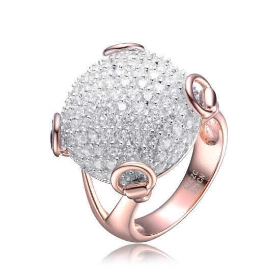 Megan Walford Sterling silver with Rose Plated Round Cubic Zirconia Studded Ball Ring   Joma Shop