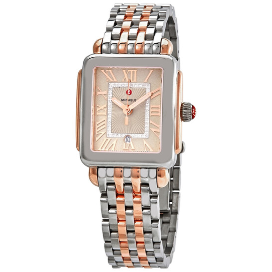 Michele Deco Madison Ladies Steel and 18kt Rose Gold Watch MWW06G000020 | Joma Shop