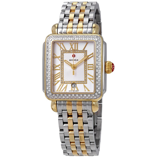 Michele Deco Madison Silver Sunray Dial Ladies Two Tone Watch MWW06T000144 | Joma Shop