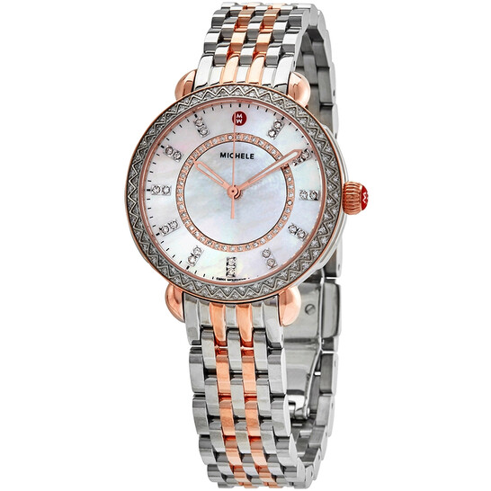 Michele Sidney Classic Mother of Pearl Dial Two-tone Ladies Watch MWW30B000003 | Joma Shop