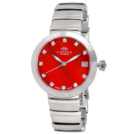 Oniss ON5559SS Quartz Red Dial Ladies Watch ON5559SSLRD | Joma Shop