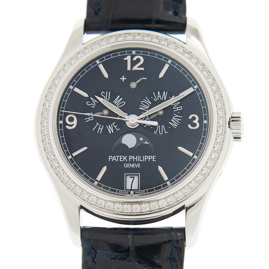 Patek Philippe Complications Annual Calendar Blue Dial 18kt White Gold Diamond Blue Leather Men's Watch 5147G-001   Joma Shop