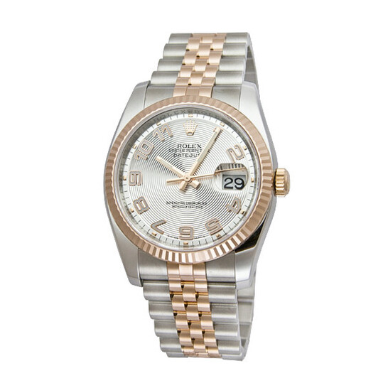 Rolex Oyster Perpetual Datejust 36 Silver Concentric Dial Stainless Steel and 18K Everose Gold Jubilee Bracelet Automatic Men's Watch 116231SCAJ | Joma Shop