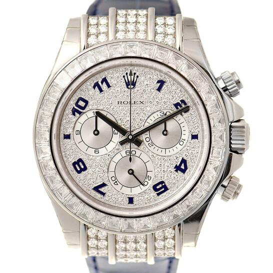 Rolex Cosmorgarph Daytona Pave Diamond Dial 18K White Gold Case Set with 48 Diamonds Leather Strap Men's Watch 116599   Joma Shop