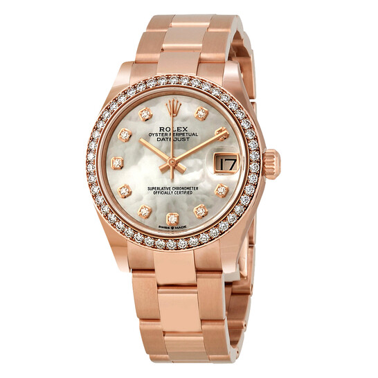 Rolex Datejust 31 Automatic Mother of Pearl Diamond Dial Ladies 18 ct Everose Gold President Watch 278285MDP   Joma Shop