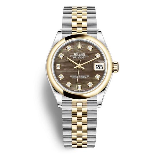 Rolex Datejust 31 Black Mother of Pearl Diamond Dial Ladies Steel and 18kt Yellow Gold Jubilee Watch 278243BKMDJ | Joma Shop
