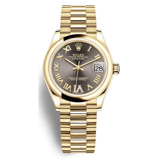 Rolex Datejust 31 Dark Grey Dial Automatic Ladies 18kt Yellow Gold President Watch 278248GYRDP | Joma Shop