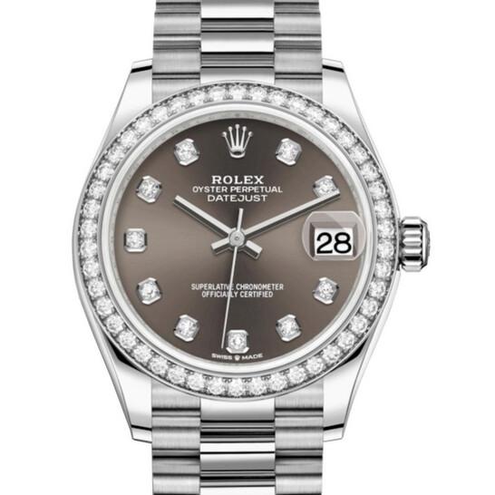 Rolex Datejust 31 Dark Grey Diamond Dial Ladies 18kt White Gold President Watch 278289GYDP | Joma Shop