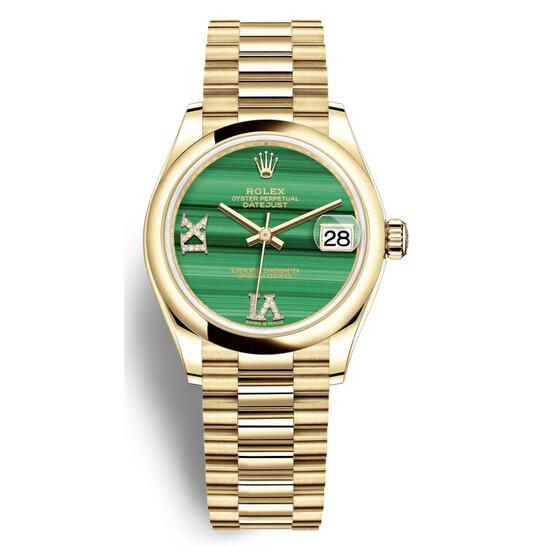 Rolex Datejust 31 Malachite Diamond Dial Automatic 18kt Yellow Gold Rolex President Watch 278248MLRDP   Joma Shop