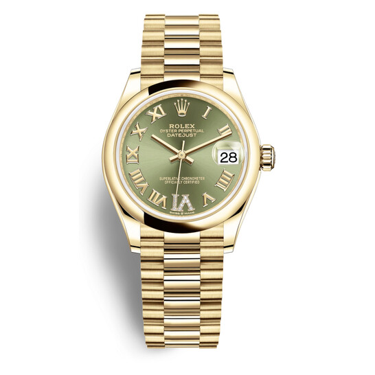 Rolex Datejust 31 Olive Green Dial Automatic Ladies 18kt Yellow Gold President Watch 278248GNRDP   Joma Shop