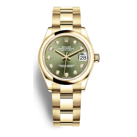 Rolex Datejust 31 Olive Green Diamond Dial Automatic Ladies 18kt Yellow Gold Oyster Watch 278248GNDO | Joma Shop