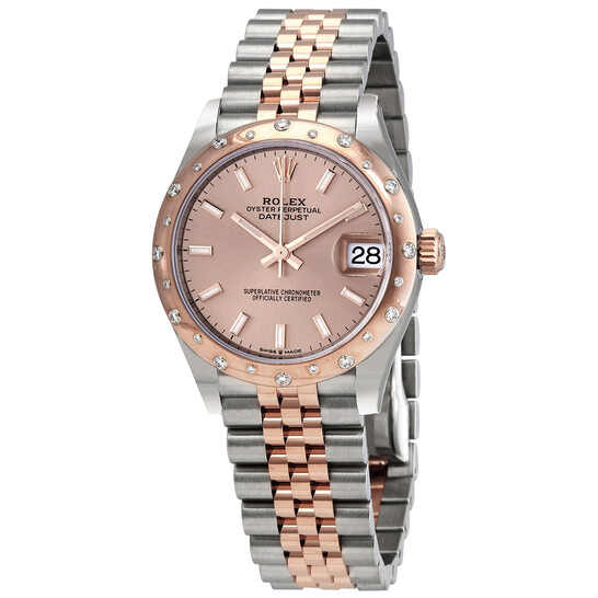 Rolex DateJust 31 Rose Dial Automatic Ladies Stainless Steel 18kt Everose Gold Jubliee Watch 278341PSJ | Joma Shop