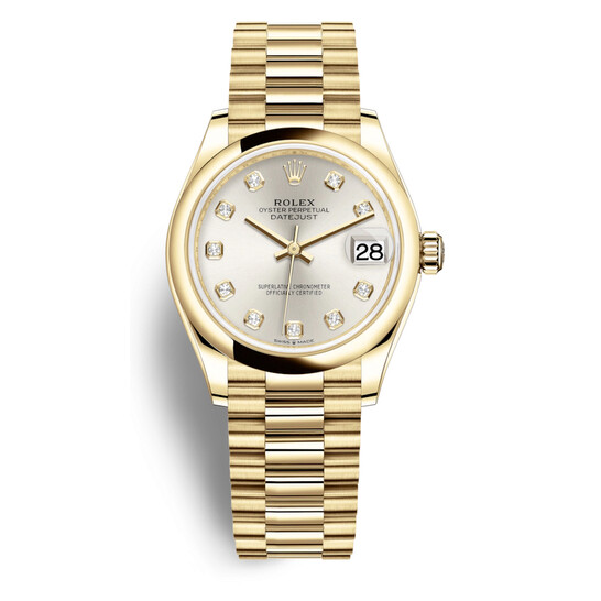 Rolex Datejust 31 Silver Diamond Dial Automatic Ladies 18kt Yellow Gold Oyster Watch 278248SDP | Joma Shop