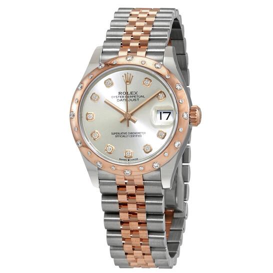 Rolex Datejust 31 Silver Diamond Dial Ladies Steel and 18kt Everose Gold Jubilee Watch 278341SDJ   Joma Shop