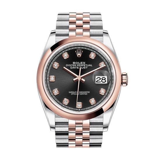 Rolex Datejust 36 Black Diamond Dial Men's Steel and 18k Everose Gold Jubilee Watch 126201BKDJ   Joma Shop