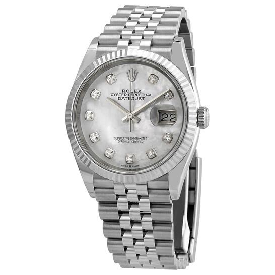 Rolex Datejust 36 Mother of Pearl Diamond Dial Ladies Jubilee Watch  126234MDJ 126234MDJ - Watches, Rolex - Jomashop