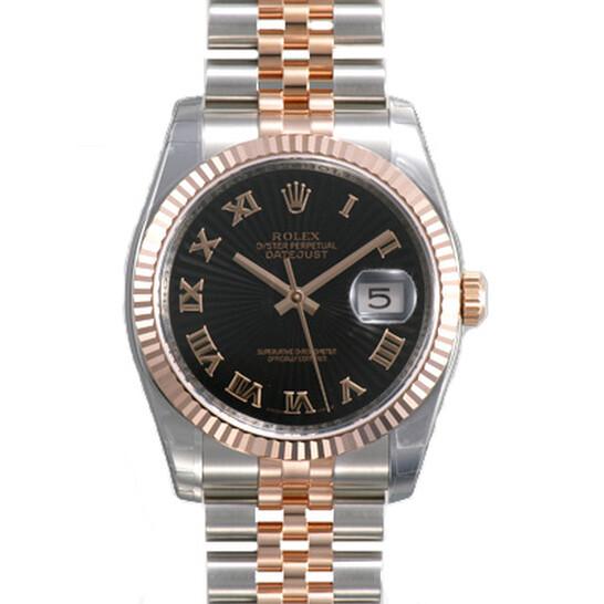 Rolex Oyster Perpetual Datejust 36 Black Sunburst Dial Stainless Steel and 18K Everose Gold Jubilee Bracelet Automatic Men's Watch 116231BKSBRJ   Joma Shop