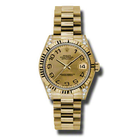 Rolex Datejust Lady 31 Champagne Concentric Circle Dial 18K Yellow Gold President Automatic Ladies Watch 178238CCAP   Joma Shop