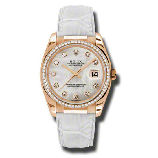 Rolex Datejust Mother of Pearl Automatic White Leather Strap Ladies Watch 116185MDL | Joma Shop