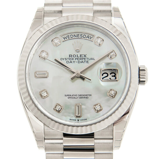 Rolex Day-Date 36 Automatic Mother of Pearl Diamond Dial President Watch 128239MDP | Joma Shop
