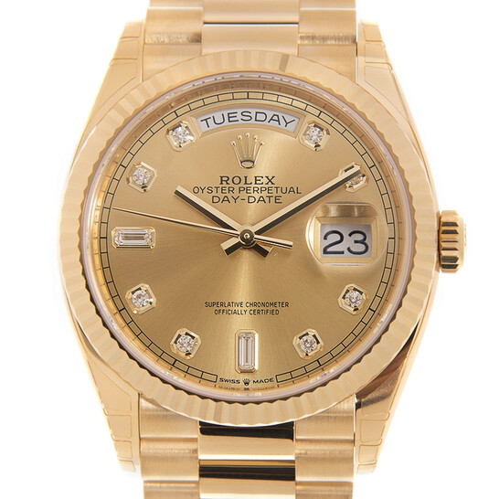 Rolex Day-Date 36 Champagne Diamond Dial 18kt Yellow Gold President Watch 128238CDP | Joma Shop