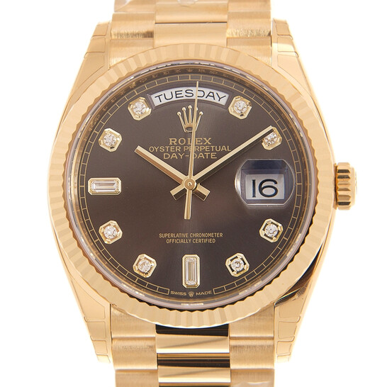 Rolex Day-Date 36 Dark Grey Diamond Dial 18kt Yellow Gold President Watch 128238GYDP | Joma Shop